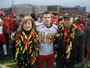 Jarryd Baines with his mother and grandfather
