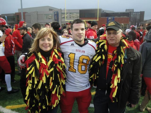 Jarryd Baines with his mom and grandfather
