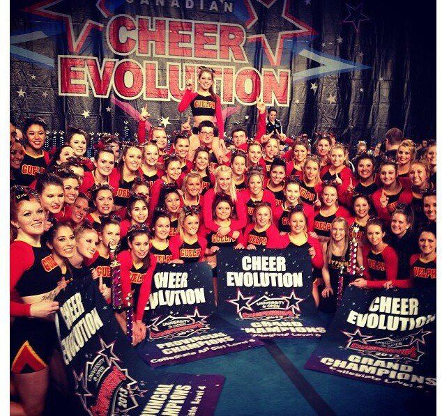 Gryphon Cheer squads pose with 2 gold medals and 4 banners at CE Nationals in Kitchener last week