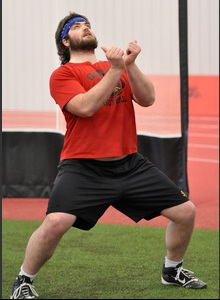 Cam Thorn works on o-line techniquesPhoto: Rob Massey/Guelph Mercury