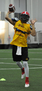 QB Lindsey throwing in the Gryphon FieldhousePhoto: Rob Massey