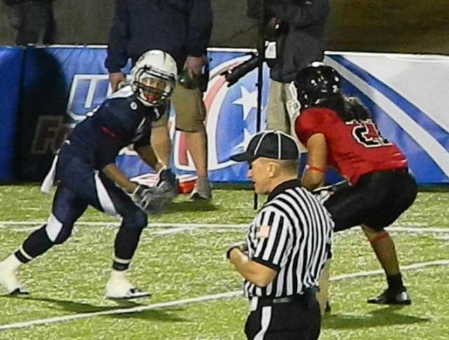 Johnson #27 locked on to Team USA receiver Team Ontario Select vs Team USA, Austin TX