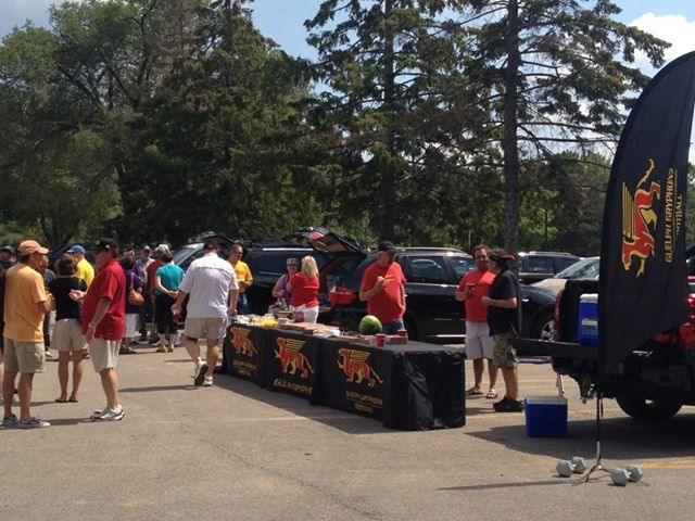 Gryphon fans tailgate outside UWO's TD Waterhouse Stadium