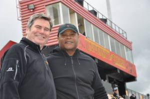 Coach Stu Lang with NFL legend Mike Singletary