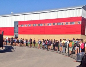 Univ of Guelph students lineup for Homecoming Game tickets in 2013