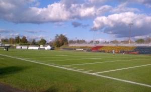 Richardson Stadium turf the day before the game Photo: Jeff Girodat