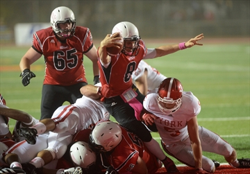 QB Luke Nangle scores  Photo: Rob Massey