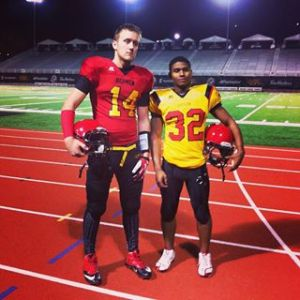 Freshmen QB Alec Reid  and RB Brandon Gordon faced off against each other in the Scout Team game tonight at Alumni Stadium,