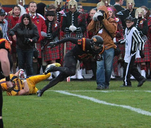 5th year receiver Dillon Dimitroff with one of 5 receptions in his final game Photo: Lou Toppan
