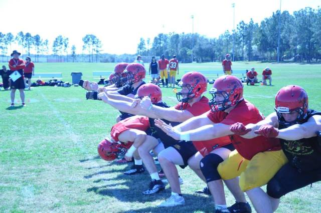 As always the Gryphons devote plenty of time to work on special teams. Day 3 - field goal practice.