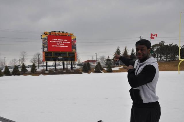 DB Jailon Bell on Alumni Stadium turf - March 20/14