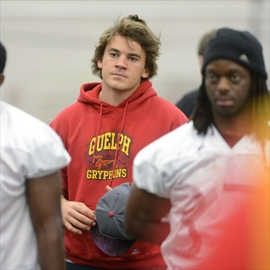 Linebacker John Rush listens to instructions at a Guelph Gryphons workout at the Gryphon Fieldhouse.  Rush figures he'll be ready for training camp. Photo: Rob Massey