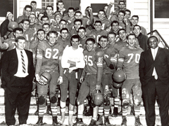 Tom Mooney (front left) with 1959 Ontario Agricultural College Redmen football team