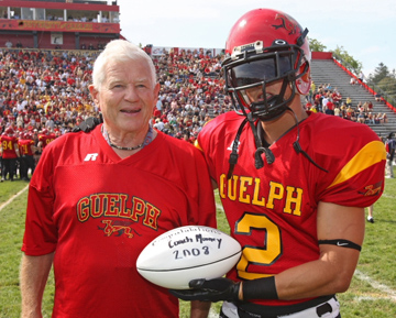The University of Guelph honoured one of its most successful football coaches, Tom Mooney, during Homecoming weekend Sept. 19 and 20, 2008. Source: The Portico