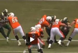 Thorn #58 handles Edmonton defender Source: cfl.ca video