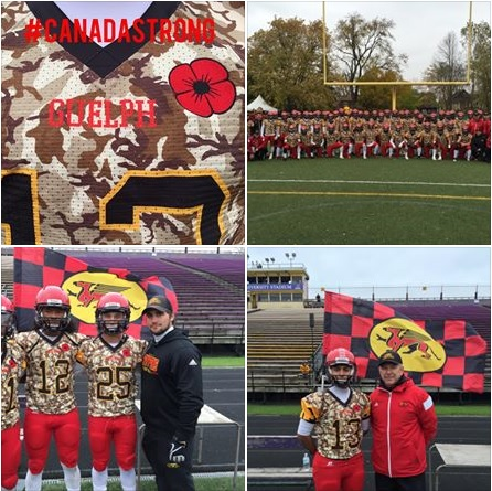 The Gryphons wore their previously unused Camouflage jerseys during the warm-ups to honour fallen soldiers - Cpl Nathan Cirillo and WO Patrice Vincent