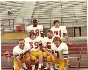 1981 roommates (l-r) Mitch Chuvalo,  Jeff Hale # 69,  Junior Robinson #28,  Wayne Laidlaw, Matt Vine & Mike Eykens #7