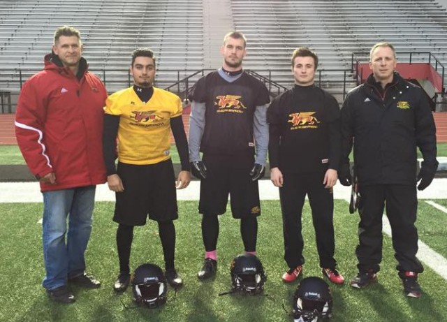 Guelph's Special Teams All Stars Coach Hank Ilesic, Daniel Ferraro, Fraser Speakman, Ryan Nieuwesteeg, Coach Bill Brown