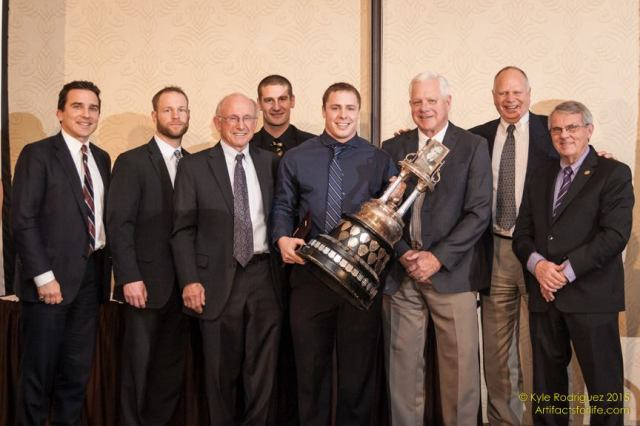 2015 Wildman Trophy winner Rob Farquharson (centre) with previous winners (L-R) Peter Partridge, Ian McQueen, Robbie Keith, Zach Androschuk, Bill Sproule, Bill Morrison & Steve Stewart Photo: Kyle Rodriguez