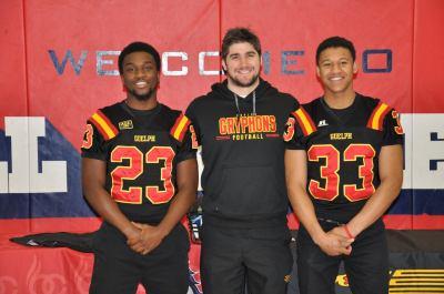 DB Recruits Elijah Walker & Austin Gonsalves with DB Coach Devin Kavanagh