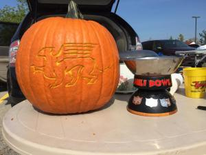 Gryphon pumpkin and Chile Cookoff Bowl trophy
