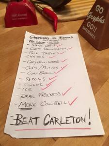 Guelph vs Carleton checklist