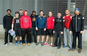 Ten Gryphon participants along with S&C coach Jordan Foley