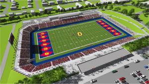 A rendering of the new Richardson Stadium. Queen's ended up selecting a blander design for the end zones