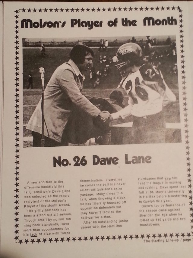 No. 26 Dave Lane - Molson Player of the Month -