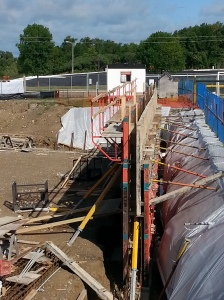 The first wall section is formed and looks ready to pour.